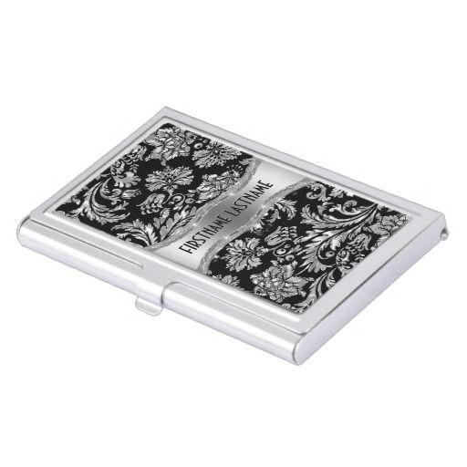 Elegant Black Metallic Silver Vintage Damasks Business Card Holder Zazzle Com Business Card Holders Business Card Case Black Business Card