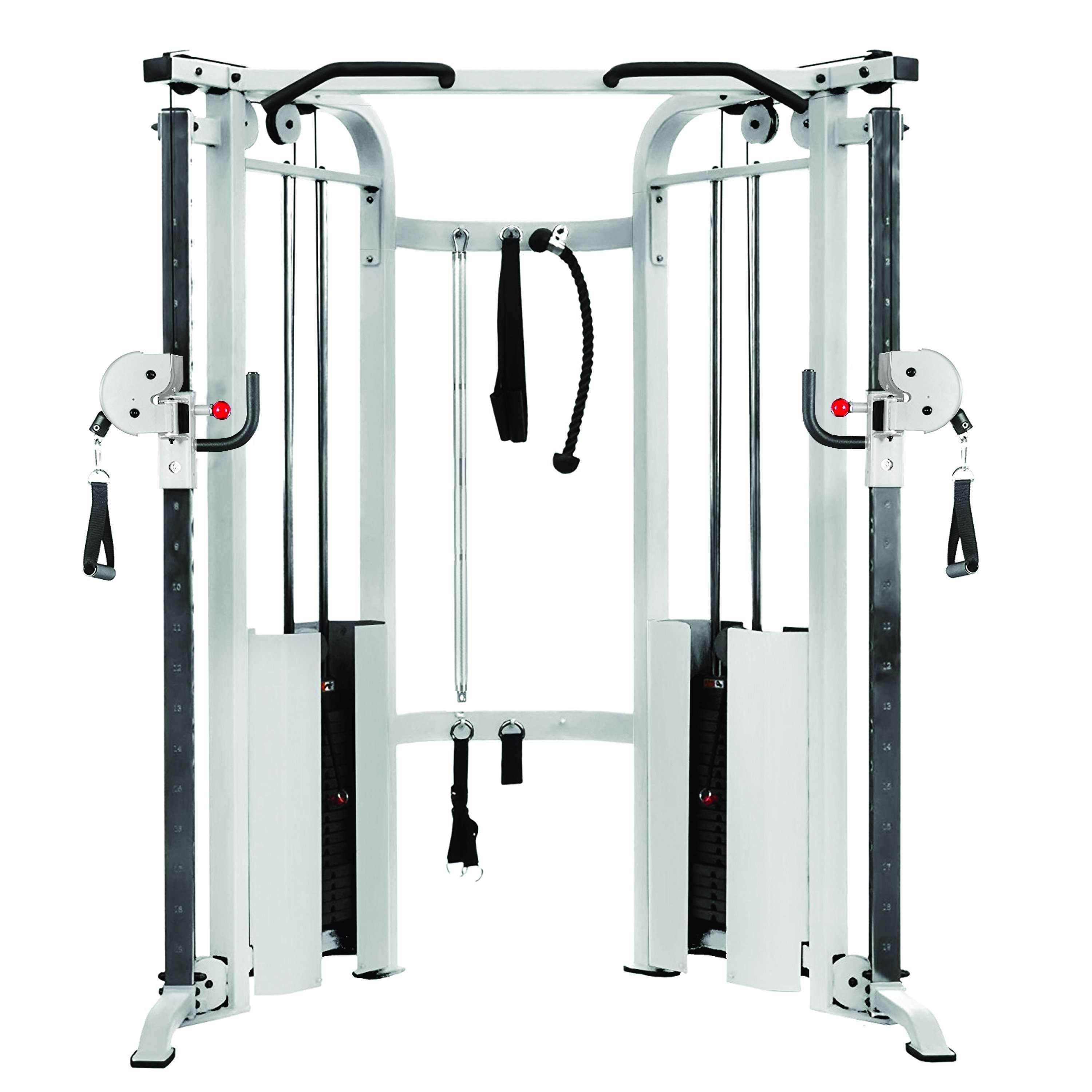 White commercial cable crossover gym equipment xmark fitness