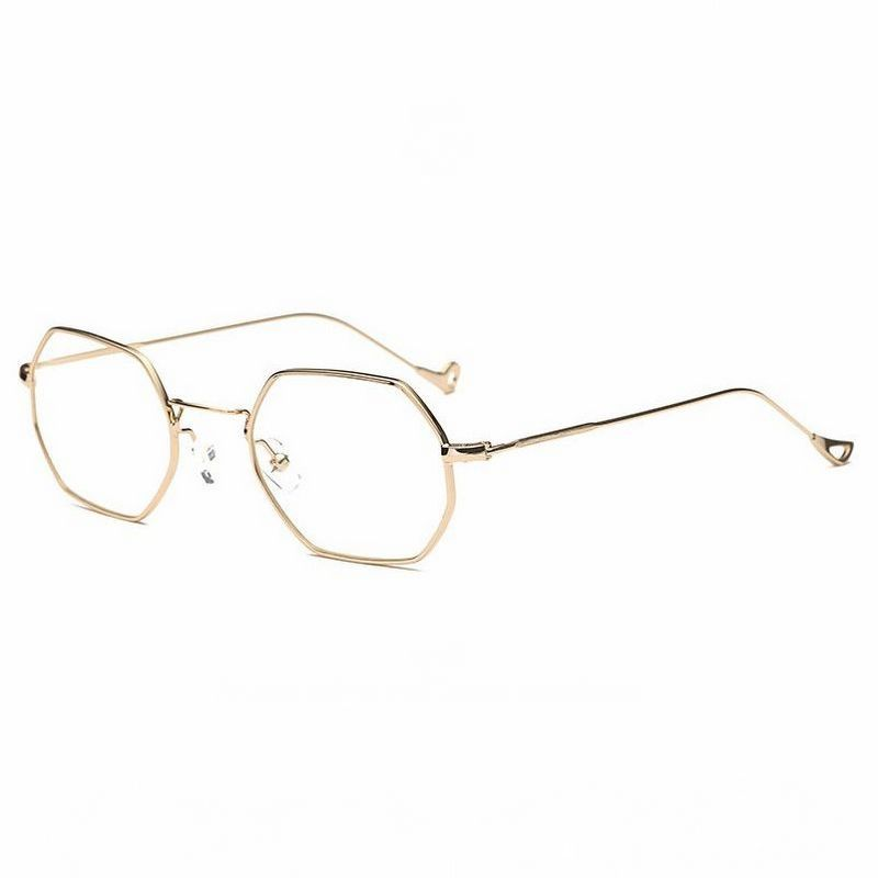 c9128df7040 Small Geometric Octagonal Metal Frame Glasses Gold Clear
