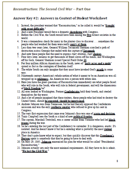 Reconstruction The Second Civil War Video Cloze Worksheets