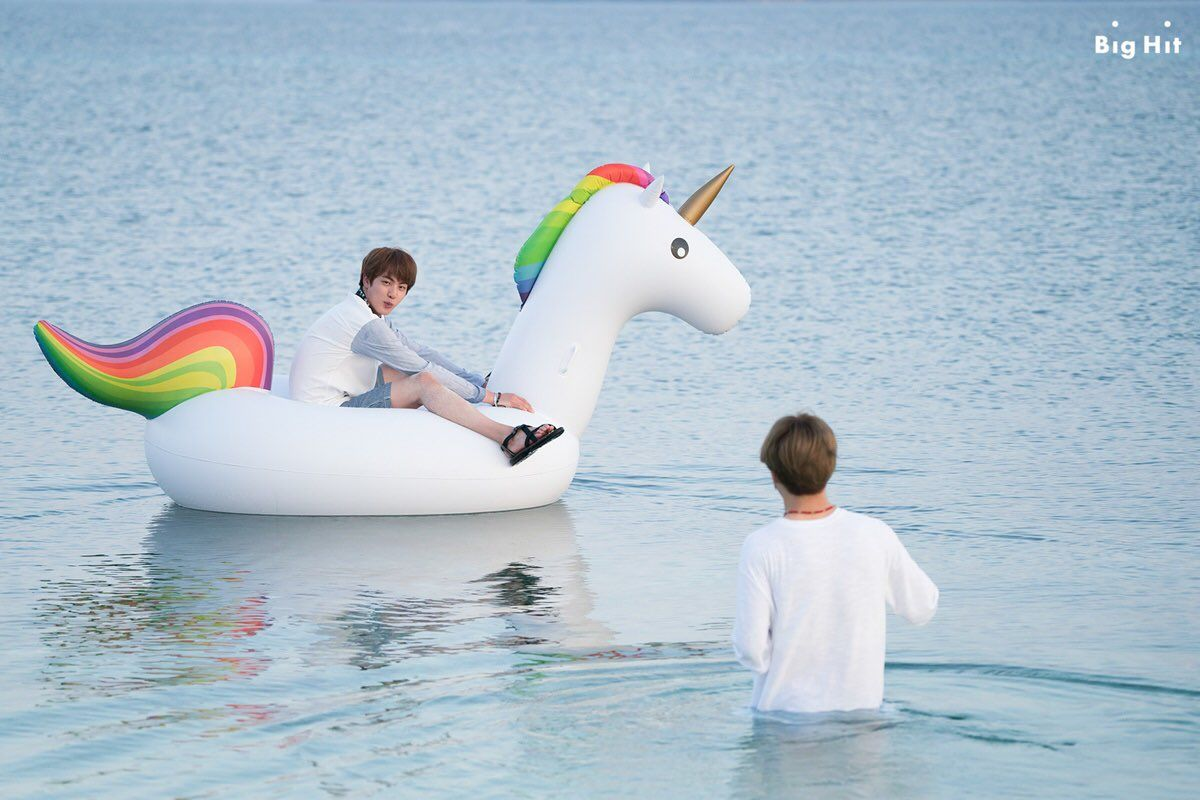 #JIN with his unicorn and #JIMIN