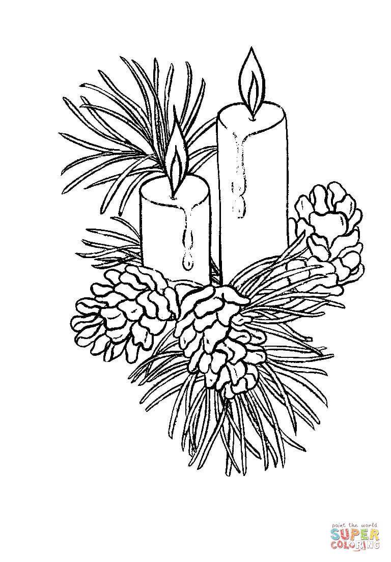 Beautiful Christmas candles coloring page | Free Printable ... #coloringsheets