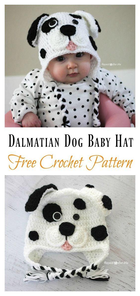 DIY Crochet Cute Dalmatian Dog Baby Hat | Baby | Pinterest ...