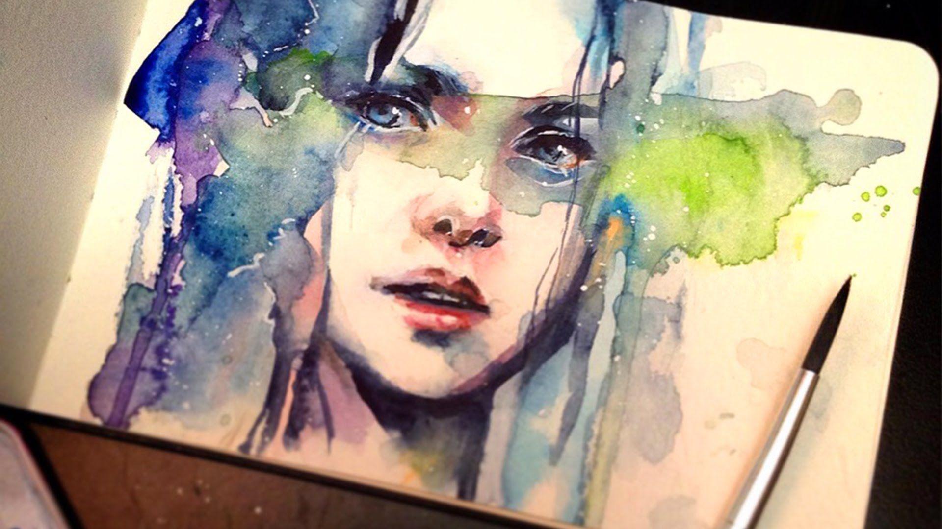 Watercolor Portrait The Premonition Wasserfarben Portraits
