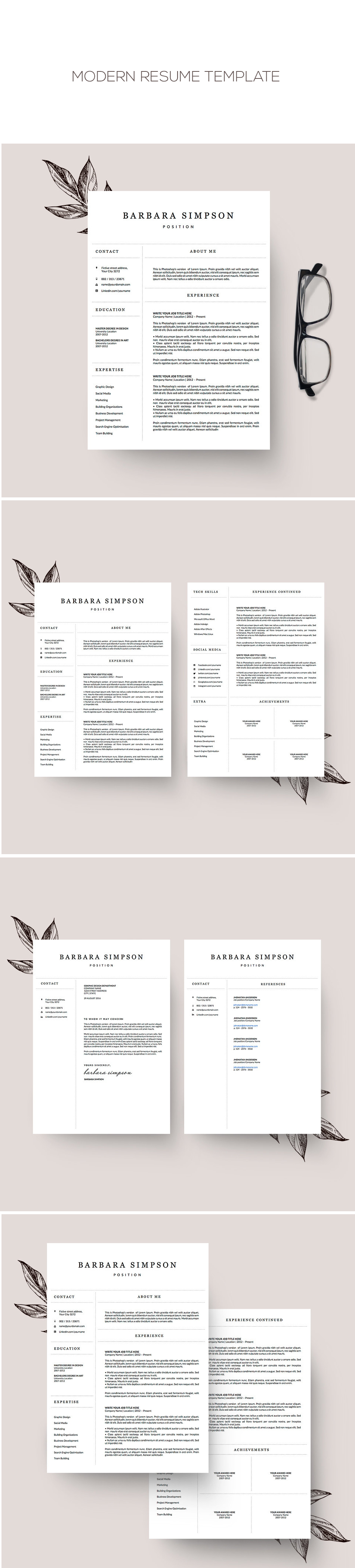 Professional 4 Page Resume Template For Word // Instant