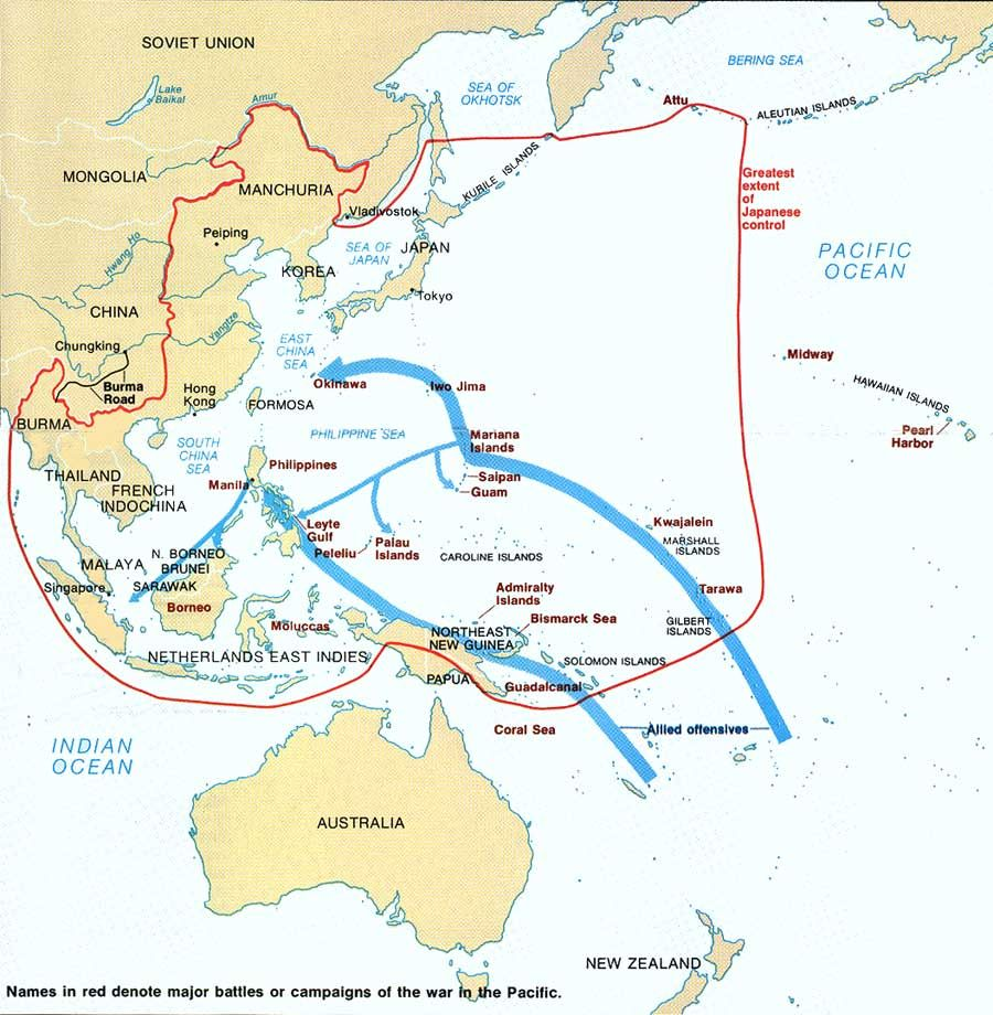 Map  WWII  Major battles or campaigns of the war in the Pacific