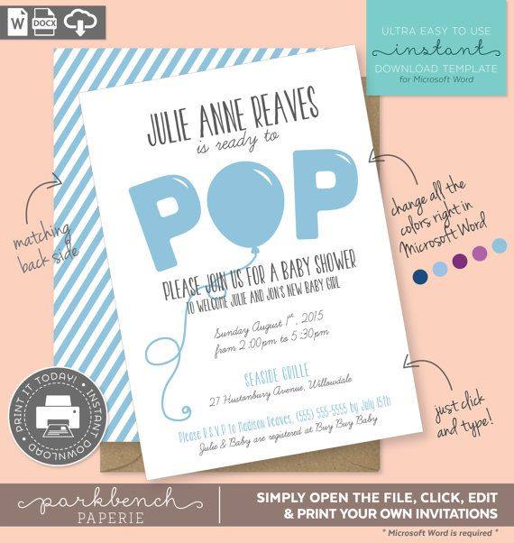 This product is an instant-download template for Microsoft Word - baby shower invitations for word templates
