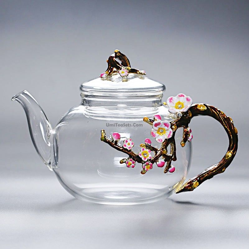 Glass Teapot With Flowers Handle Tea Pots Glass Teapot Lavender Bath Bombs
