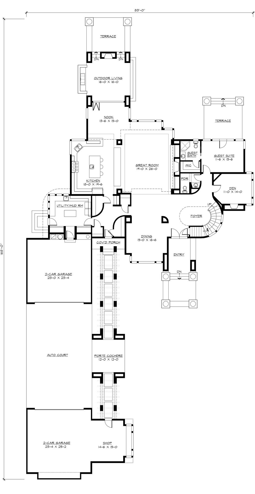 Modern Style House Plan 4 Beds 4 5 Baths 4750 Sq Ft Plan 132 221 Modern Style House Plans House Plans Modern House Plans