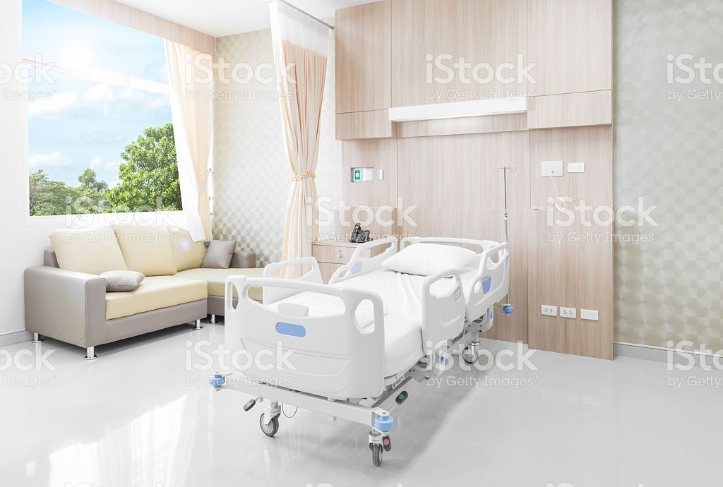 Hospital room with beds and comfortable medical equipped royalty-free stock photo