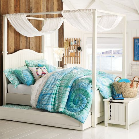 Canopy Bedroom Sets Girls trundle canopy full size bed | beadboard canopy bed + trundle on