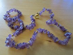 """New Listing Started vintage amethyst chip/gold bead necklace 18"""" unusual goldtone heart shape clasp £1.55"""