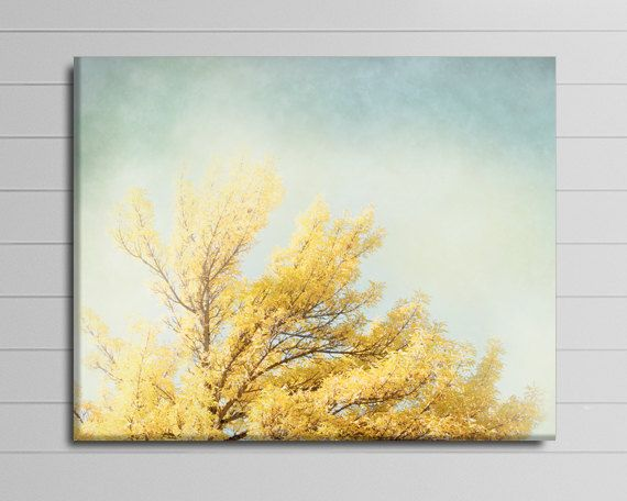 Tree Canvas Art, Yellow and Blue Wall Decor, Livingroom Canvas Wrap ...