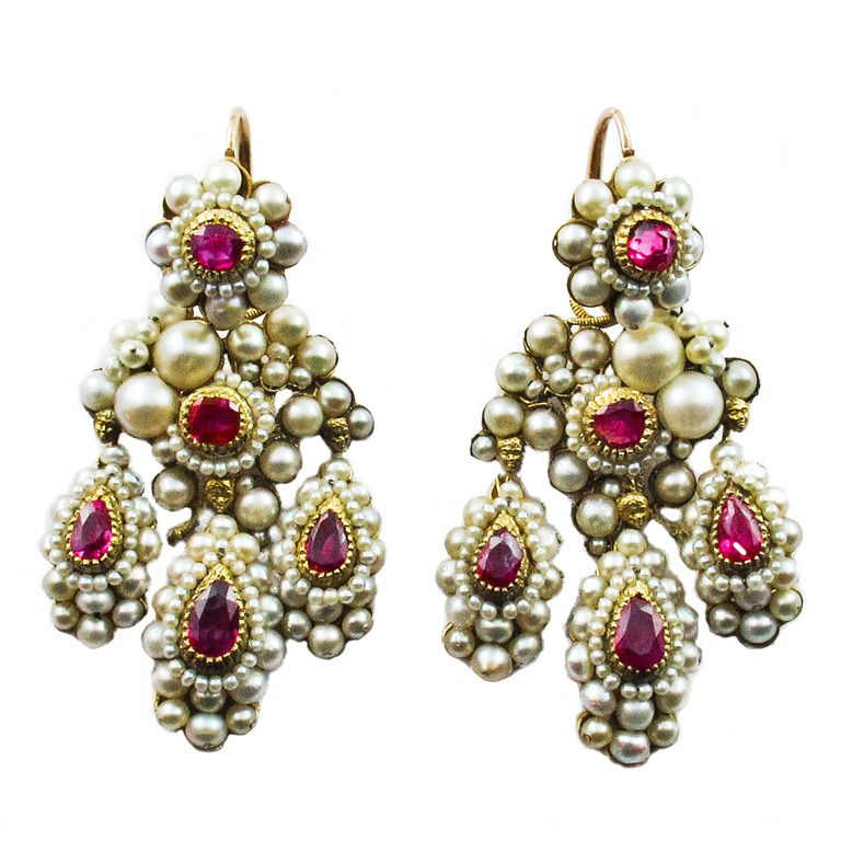 Antique ruby and pearl Girandole Earrings - Antique Ruby And Pearl Girandole Earrings Pearls, Natural And
