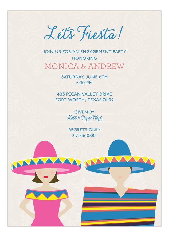 bff1f09df1d1 Brunette Fiesta Couple Invitation - perfect for an engagement party or  couples shower.