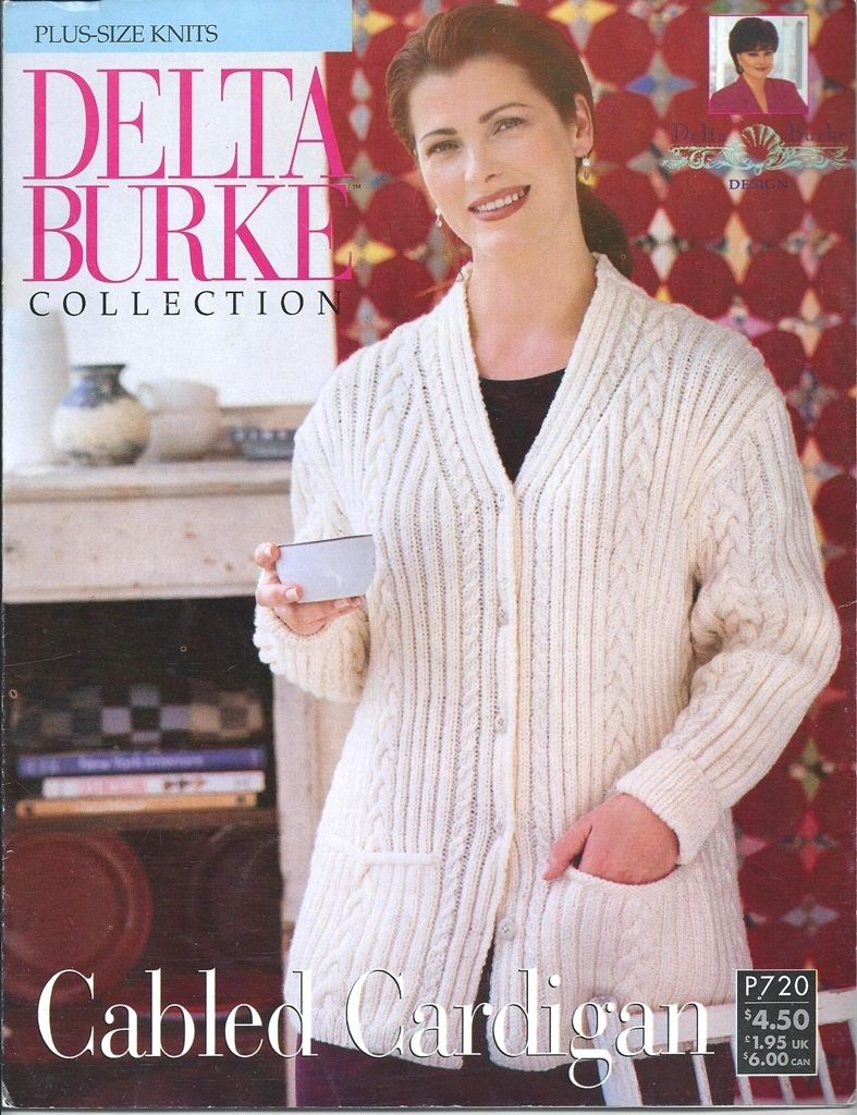 Delta Burke Collection Plus Size Knits Cabled Cardigan Pattern P720