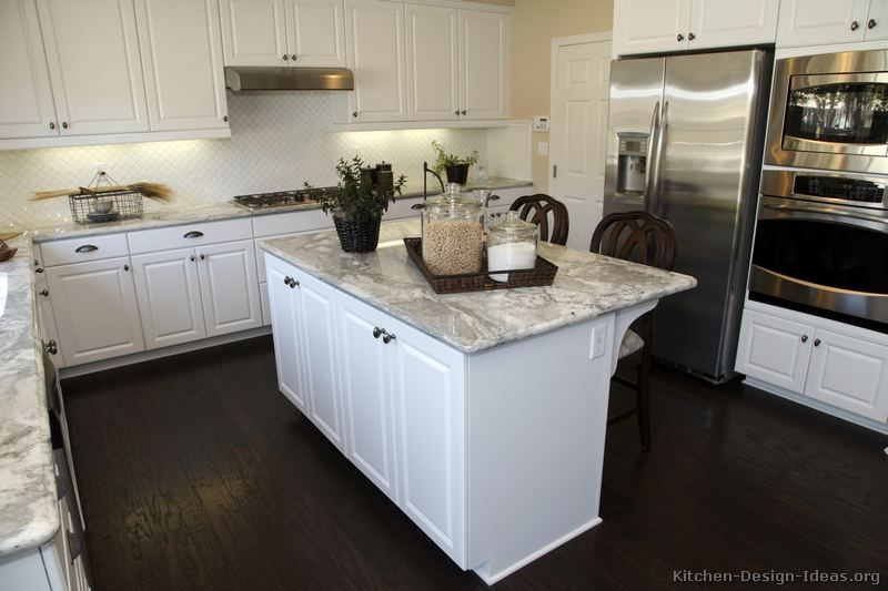 white marble kitchen with blonde floors | pictures of kitchens