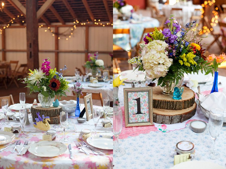 flowered table cloths and tree slices.