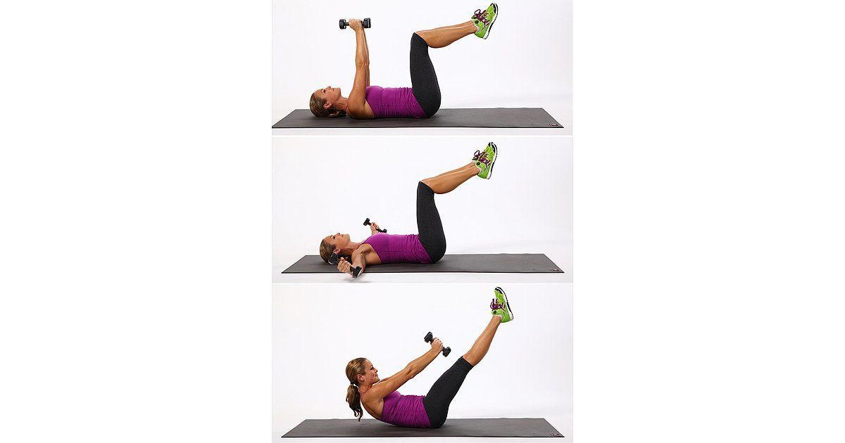 The secret sauce in this exercise: use your abs to control your movement on the way down. Uncurl slowly instead of just letting gravity pull you down.   Lie on your back with a three- to five-pound dumbbell in each hand. Raise your arms straight up