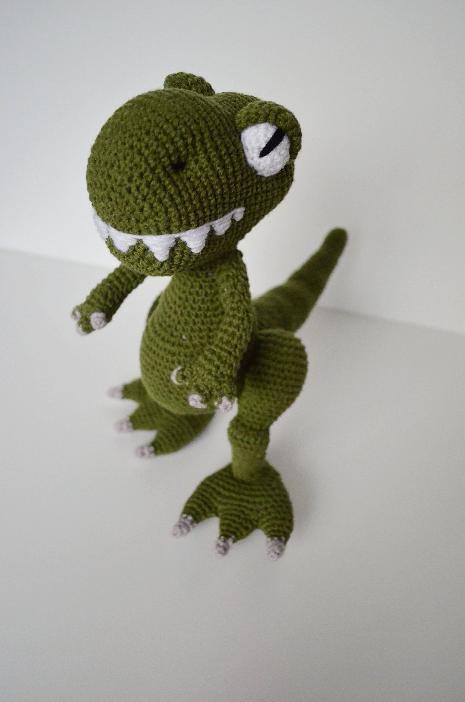 Crochet PDF dinosaur pattern, Amigurumi Dino Pattern, Crochet T-Rex, Handmade green T-Rex