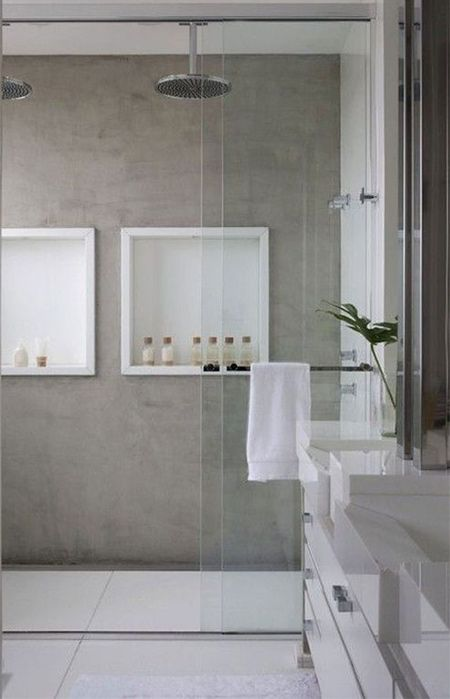 Easy To Install Concrete Tiles Require Far Less Maintenance Than Real Concrete And There Are D Concrete Bathroom Design Bathroom Design Trends Bathroom Design