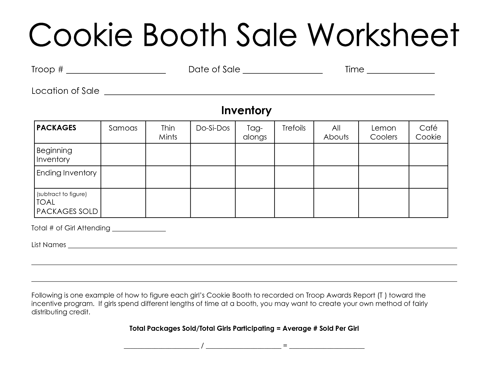 Girl Scout Cookie Booth Worksheet Cookie Booth Sale
