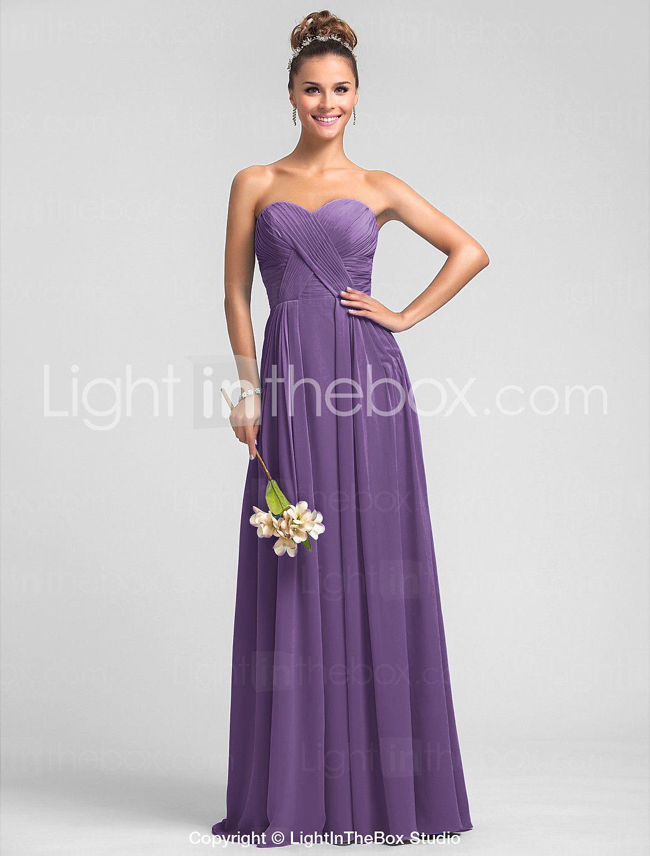 A-Line Sweetheart Neckline Floor Length Chiffon Bridesmaid Dress ...
