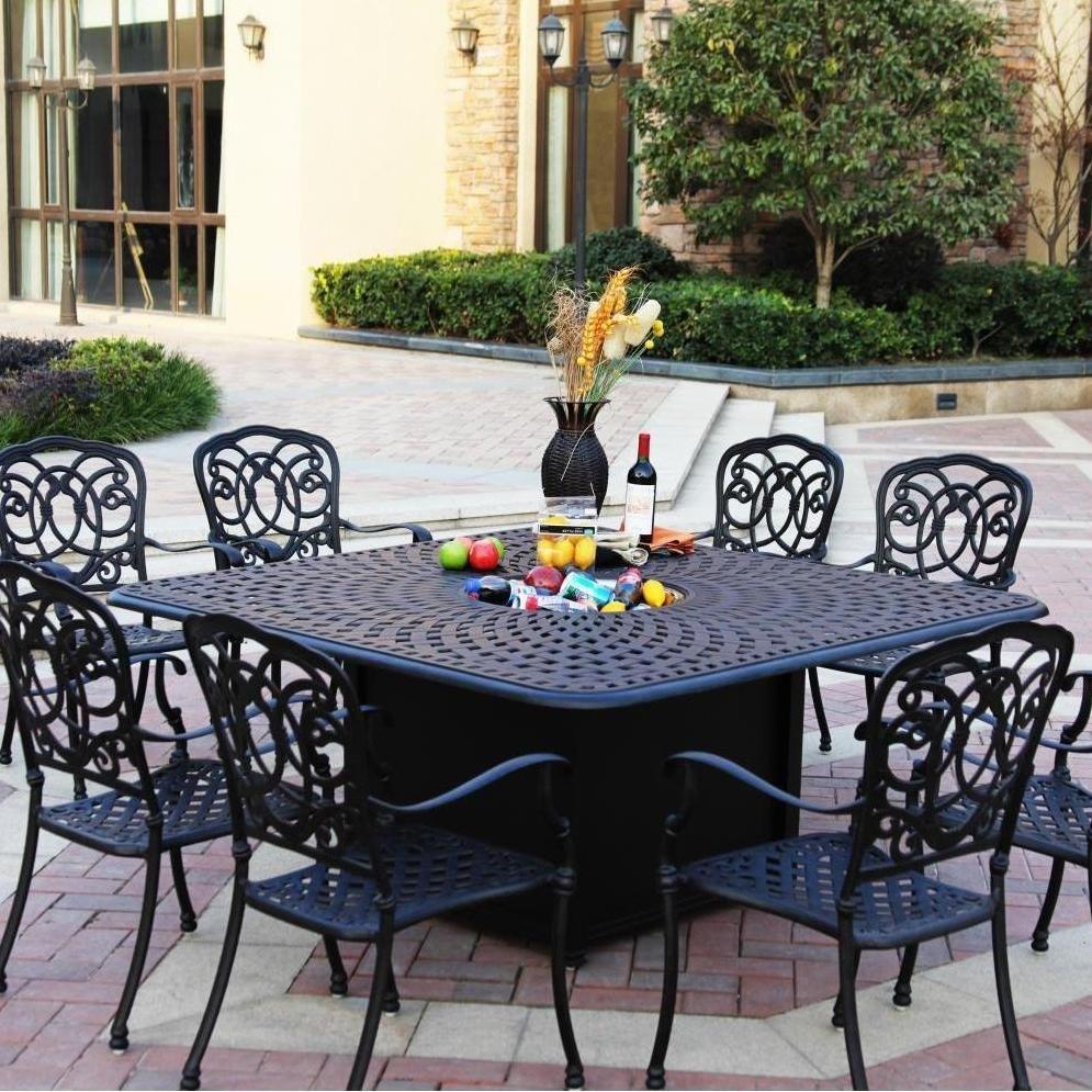 Darlee Florence 9 Piece Cast Aluminum Patio Fire Pit Dining Set