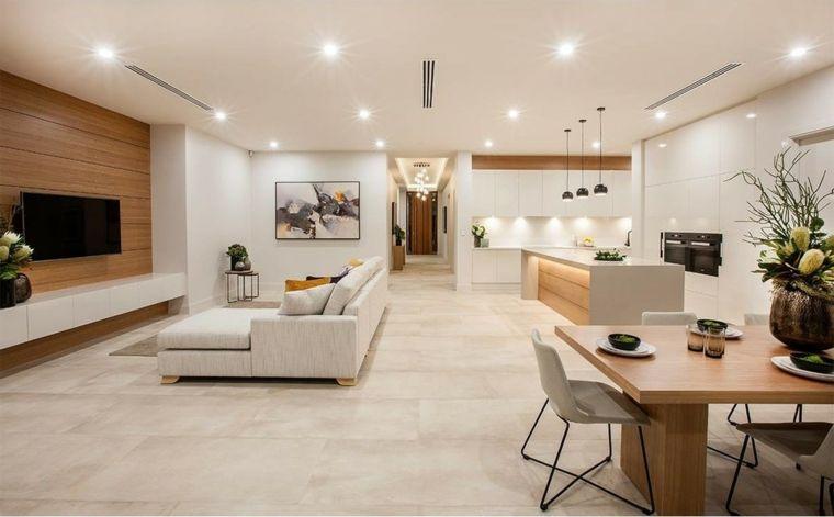 Mobili sospesi soggiorno di colore bianco laccato con for Mobili sala da pranzo moderni