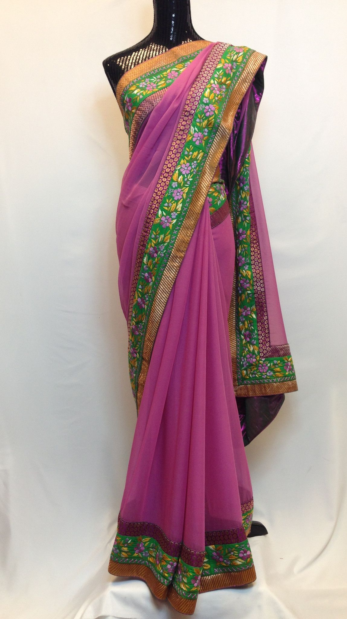 Pure Georgette Saree with Hand Embroidered Border - Purple