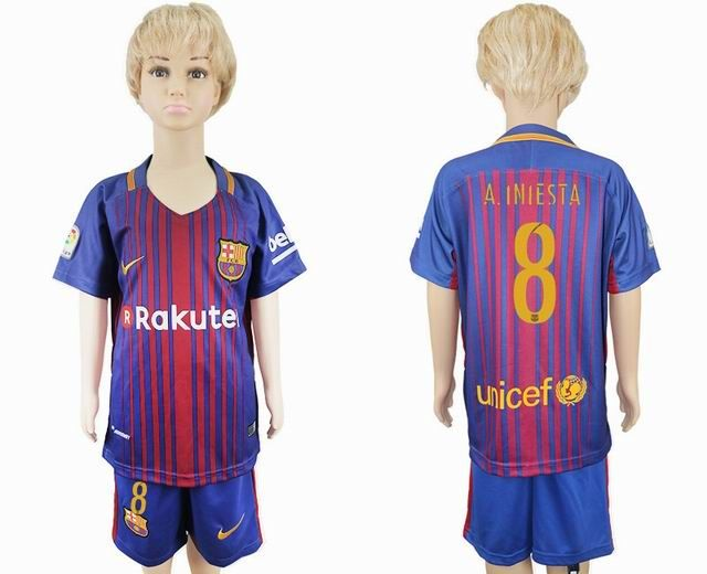 2017 2018 barcelona club 8 a.iniesta kid blue soccer jersey home