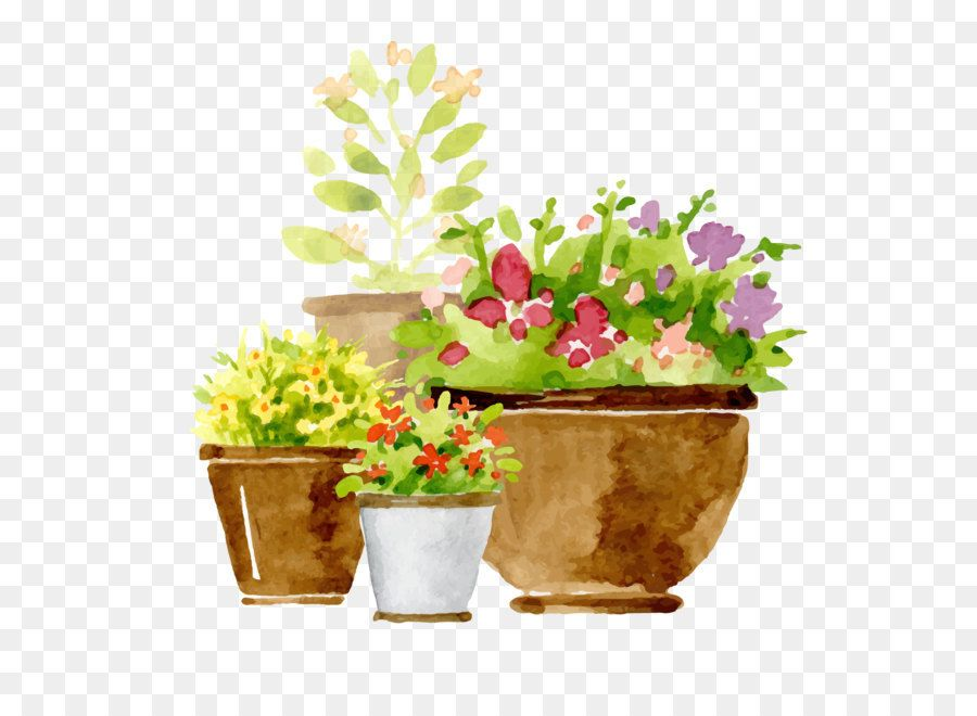 Euclidean Vector Flowerpot Adobe Illustrator Hand Painted Potted Plants Png Is About Is About Plant Flower Herb Va Flower Pots Illustration Plant Supports