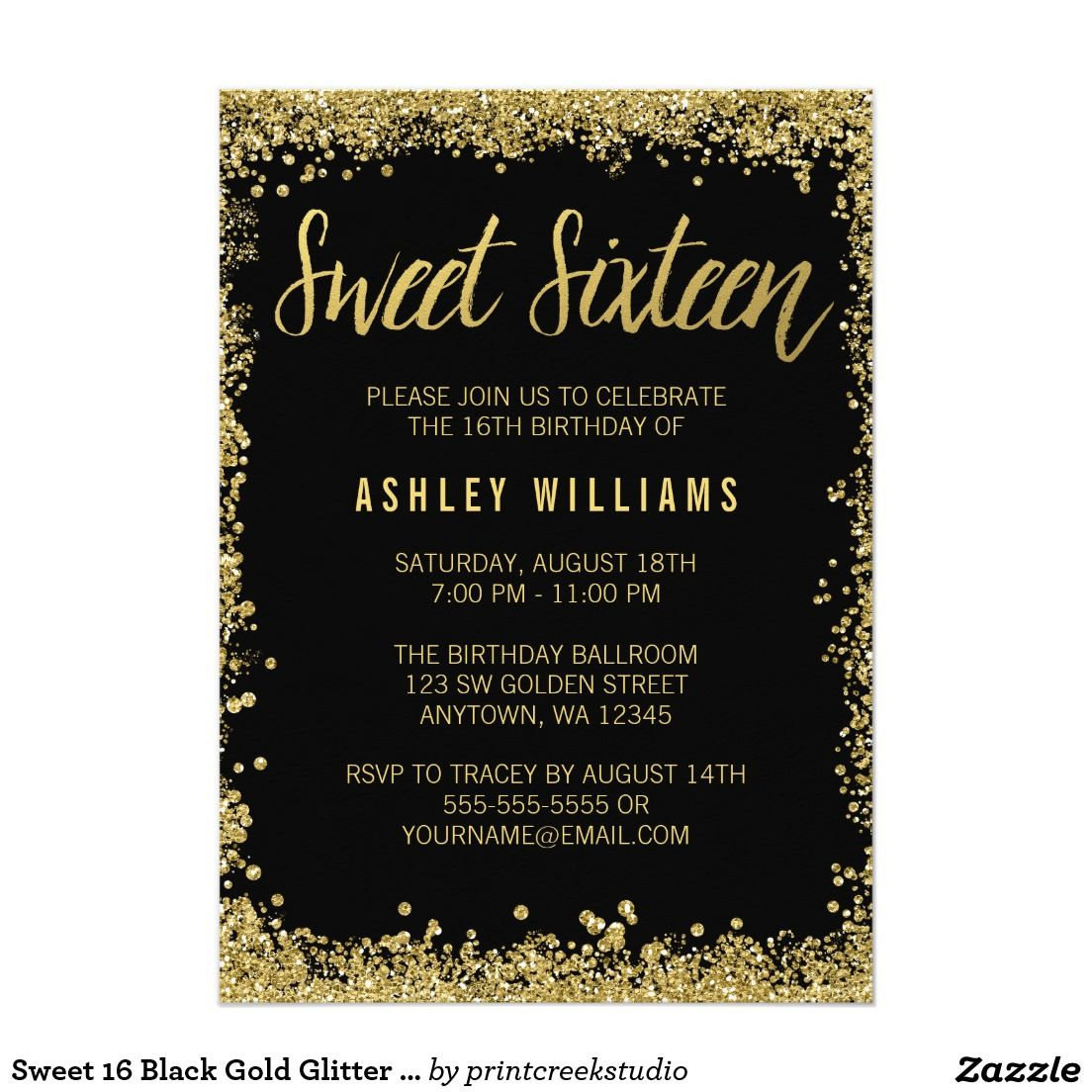 Sweet 16 Black Gold Glitter Birthday Invitation Zazzle Com Glitter Invitations Birthday Sweet Sixteen Birthday Party Invitations 16th Birthday Invitations