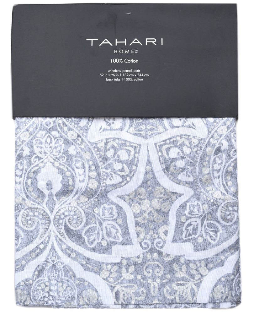 Gray and yellow window curtains - Tahari Grey Silver Floral Medallion 2pc Window Curtain Panels Flowers Pair 52x96