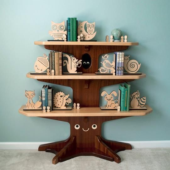 eb80c09653ae Happy Acorn Wood Bookend Modern Baby Nursery by graphicspaceswoo ...