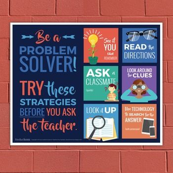 Educators Are Asking For Loving >> Problem Solving Poster Six Strategies To Try Before Asking The