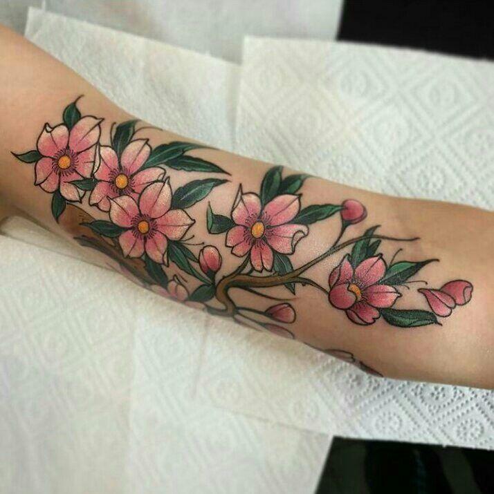 Cherry blossom tattoo by Marcin Łukasiewicz #tattoo #cherryblossom #flowers #cherry #blossom