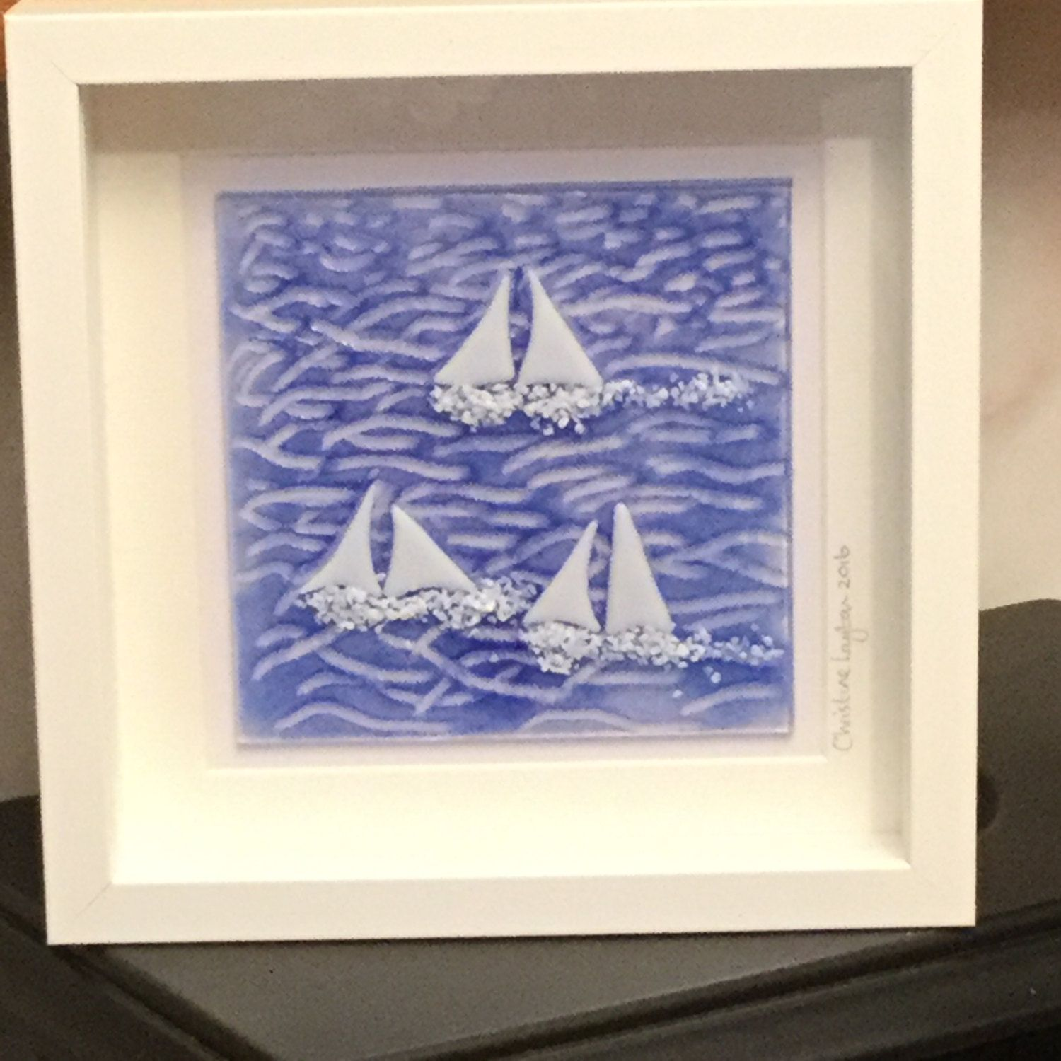 Nautical gifts for the home - Nautical Sailing Picture Glass Seascape Wall Hanging Sailing Boat Glass Art Home Decor