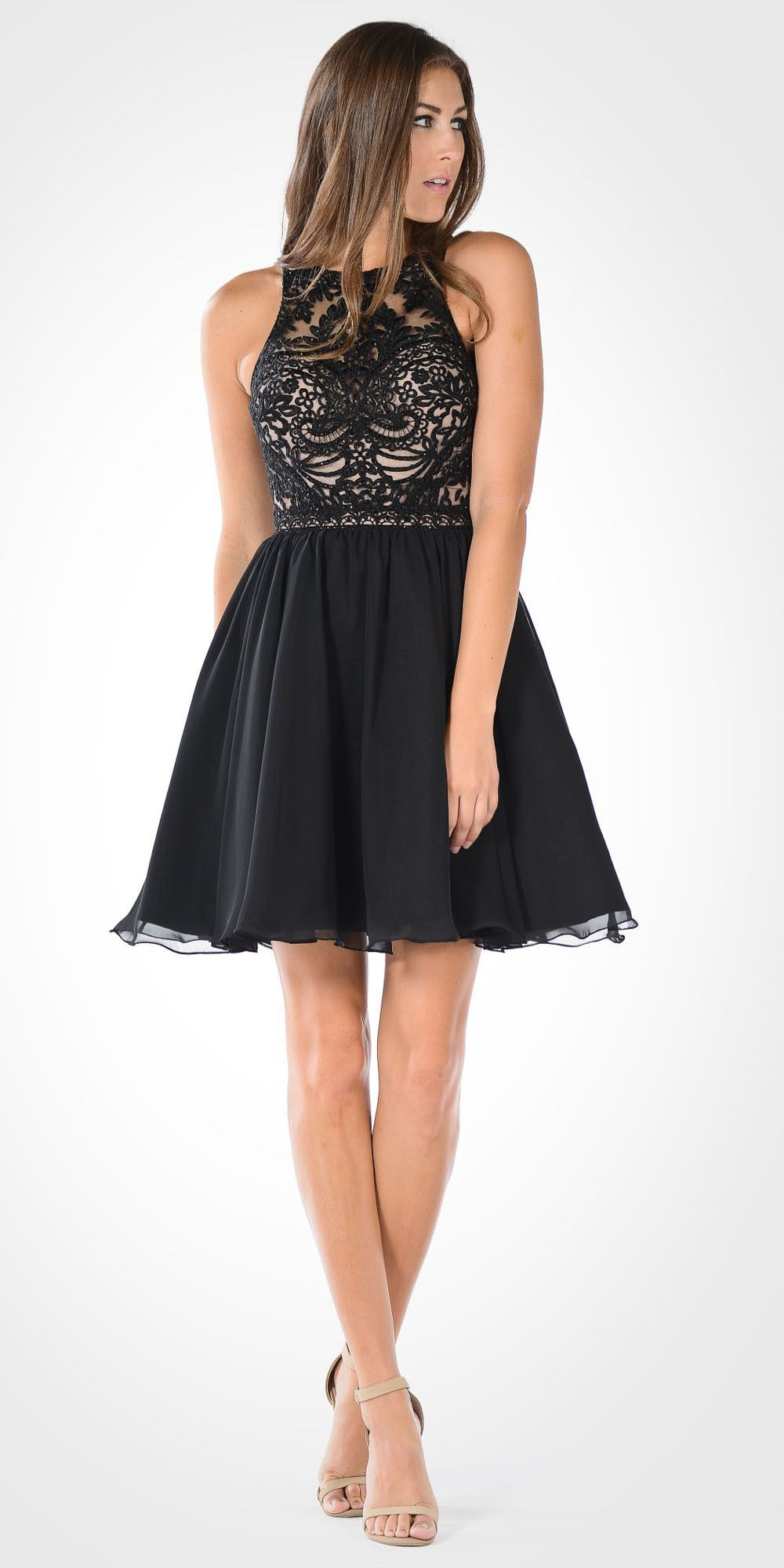 Round Neck Embroidered Top Chiffon Skirt Homecoming Dress ...