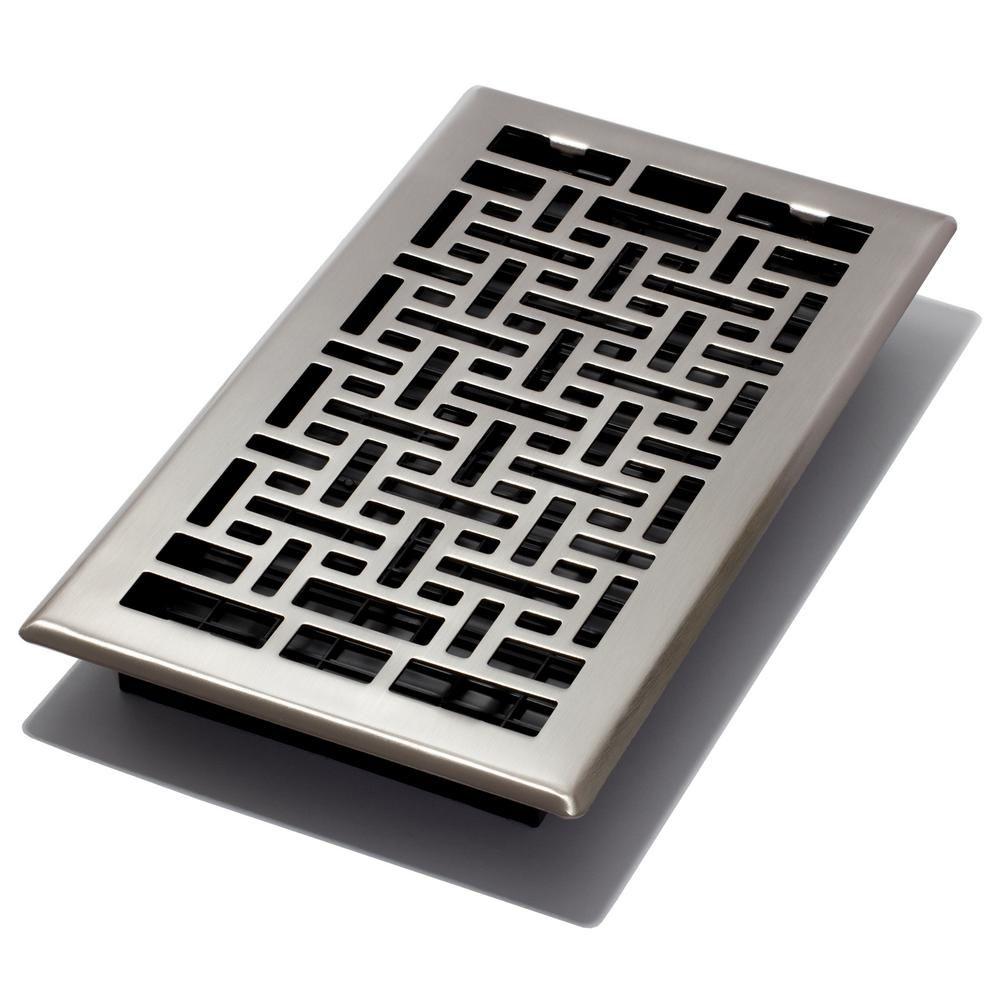 Decor Grates 6 in. x 12 in. Oriental Nickel Floor Register