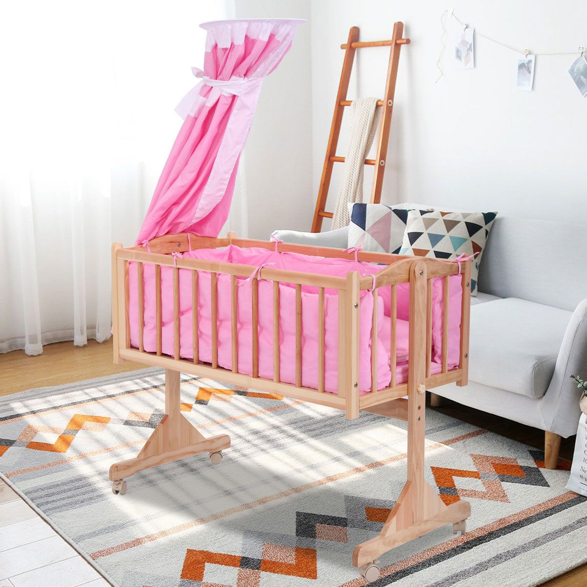 Mini Crib Baby Cradle Infant Solid Wood Baby Toddler Nursery Circular Canopy Toddler Bed Mattress Portable Baby Bed Baby Bed