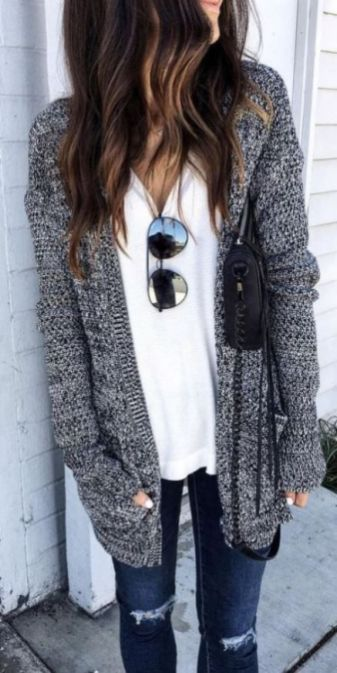 29 Cute Women Fall Outfits Ideas With Cardigan #falloutfitsformoms