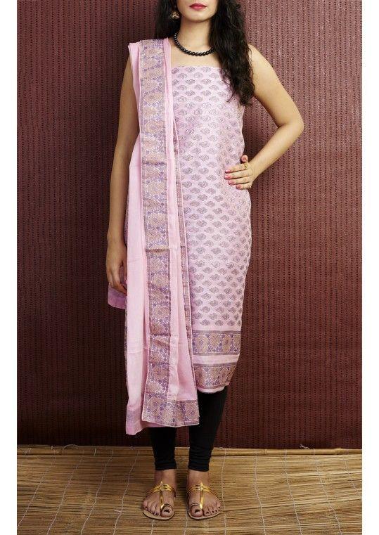 cc9e8dd7ce Baby Pink Banarasi Brocade Handloom Pure Silk Dress Material Set ...