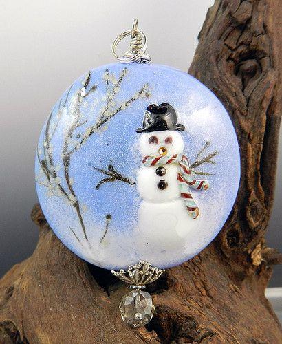 Glassactcc Christmas Snowman Handmade Lampworked Focal