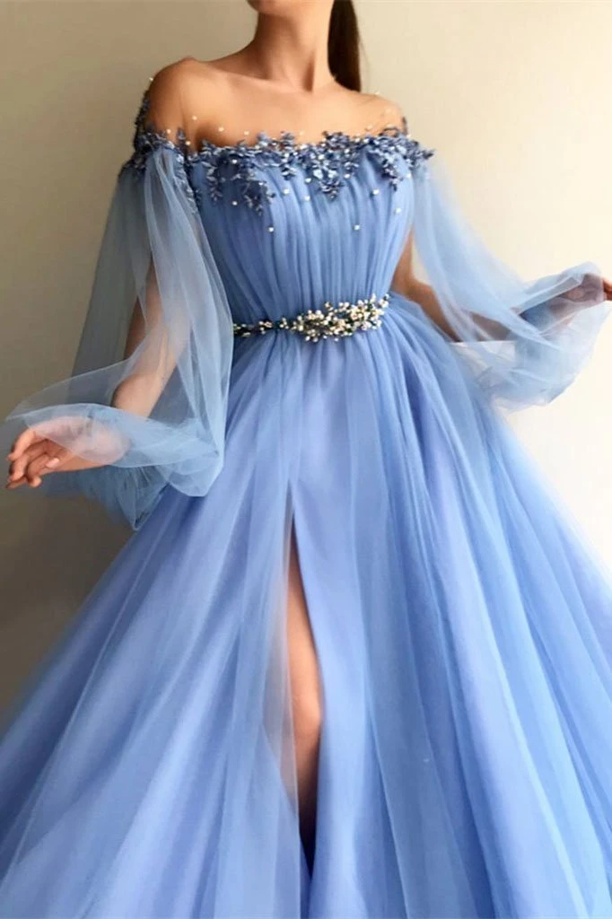 Blue Long Sleeve Tulle Prom Dresses with High Spli