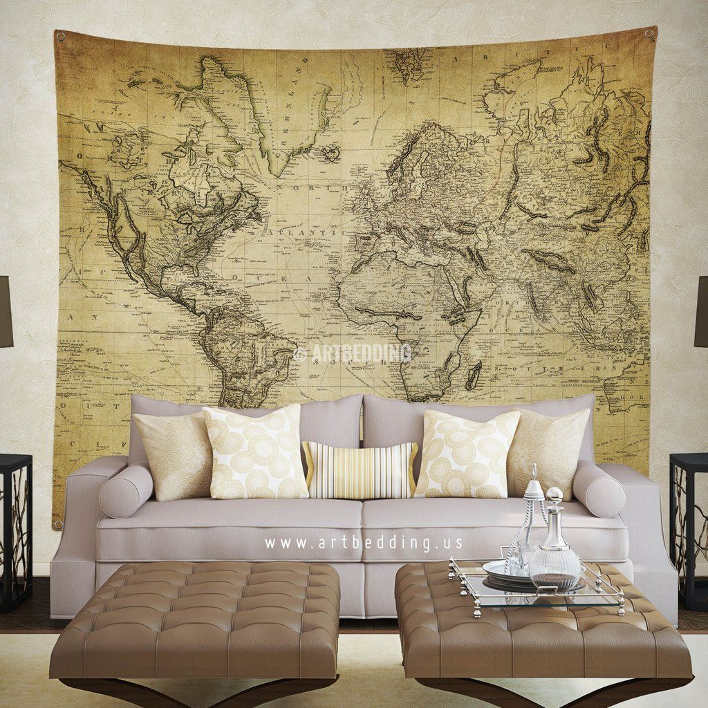 Vintage world map wall tapestry vintage interior world map wall vintage world map wall tapestry vintage interior world map wall hanging old map wall gumiabroncs Image collections
