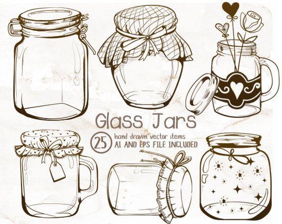 Glass Jars Clipart Mason Vintage Jar Crafts String Lights Illustrator EPS Ai File