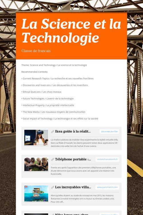 La Science et la Technologie AP French la science et la - maison classe energie d