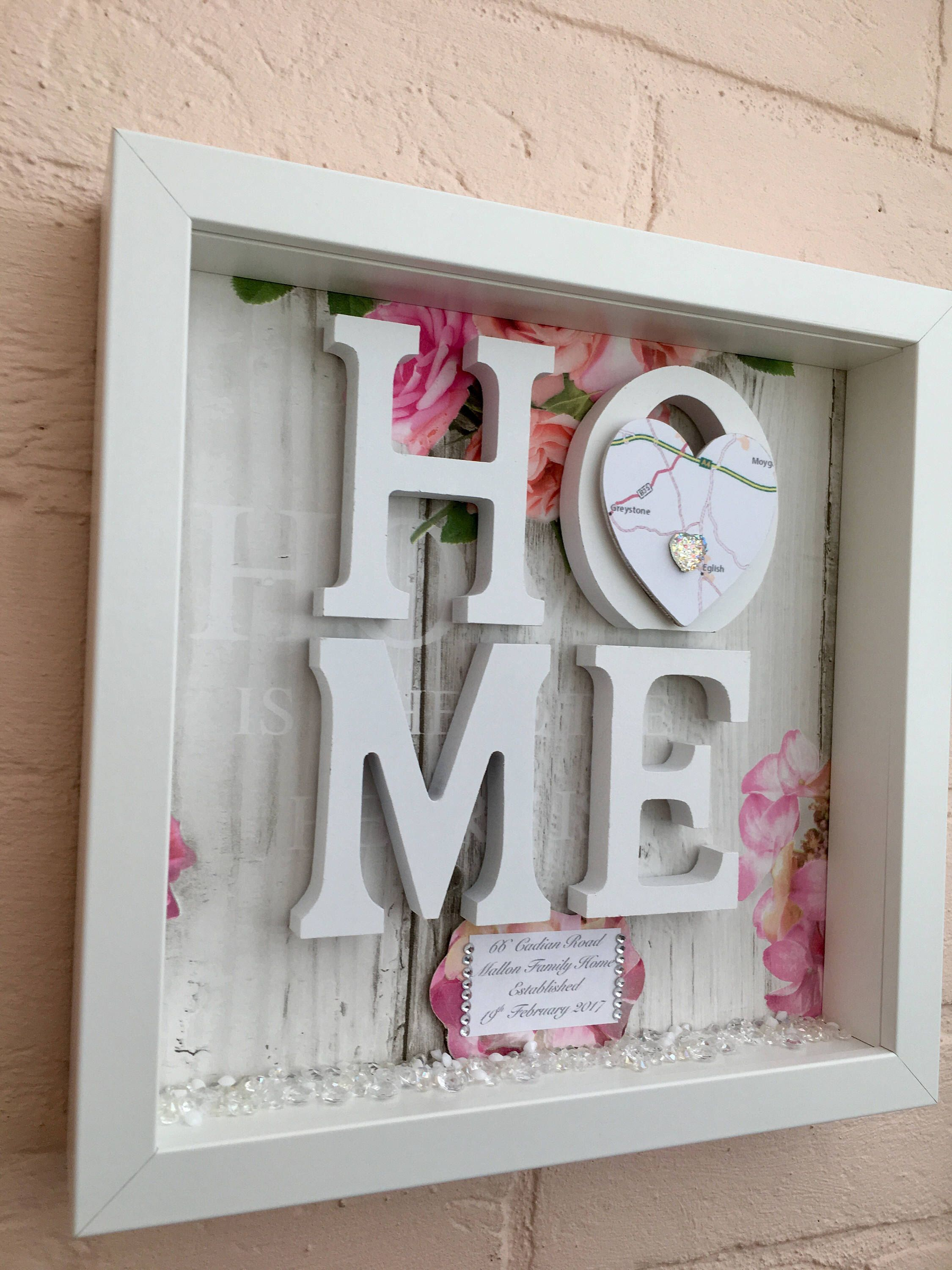 New Home Gift House Warming Map Frame Sweet