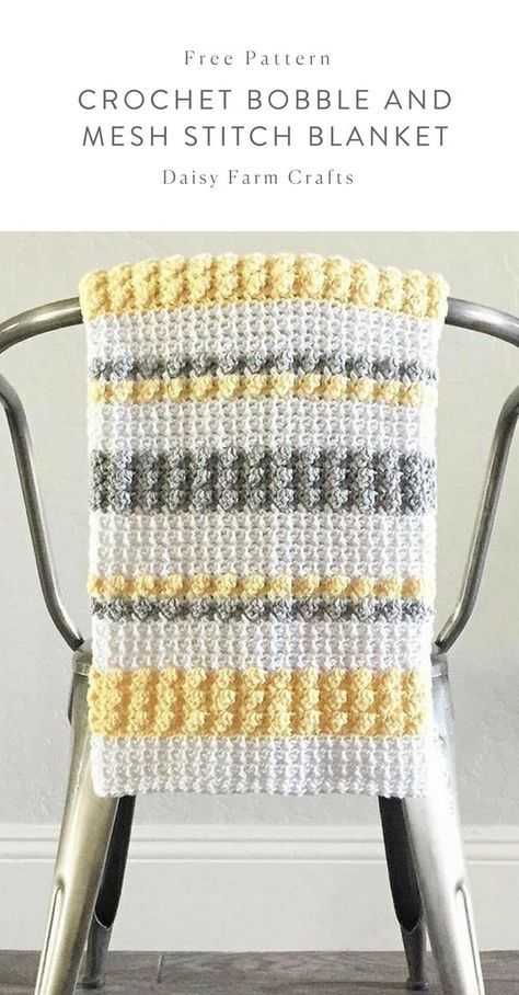 Free Pattern - Crochet Bobble and Mesh Stitch Blanket #crochet ...